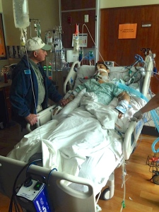 Jake and his dad, after the transplant surgery.