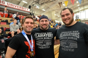 Jake Calhoun, coach Gino Frank and Danny Estricher at the 2014 Northeast Regionals