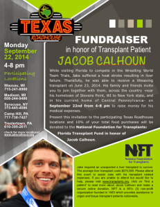 Show your server this flier during your September 22 visit for 10% of your purchase to be donated to NFT in honor of Jacob Calhoun